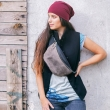 hipbag in black and grey colours unique gift for her bag with adjustable strap made by ladybuq