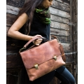 original briefcase documents and laptop bag in ginger colour made by ladybuq art
