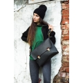 black bag with brown accents made by hand by Ladybuq Art