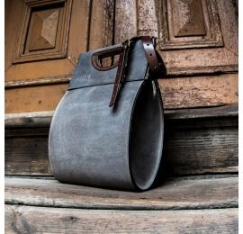 Skórzana ręcznie wykonana torba od Ladybuq Łezka w kolorze Szarym unikalna torebka do pracy na laptopa