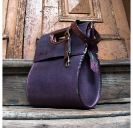 Leather bag in Plum colour perfect everyday bag made by hand by Ladybuq Art