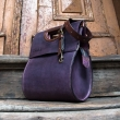 beautiful leather bag in plum colour perfect bag for everyday at work
