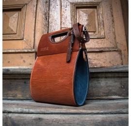 Ręcznie wykonana torebka skórzana model  Łezka w kolorach rudy oraz granat  od Ladybuq Art Studio