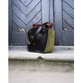 Leather bag Kuferek purse in Black and lime made by Ladybuq Art Studio