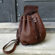 Maja in unique chocolate brown colour sack shaped bag in set with sachete and long shoulder strap made by Ladybuq Art