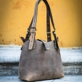 Leather bag Alicja made by Ladybuq Art in Light Brown colour
