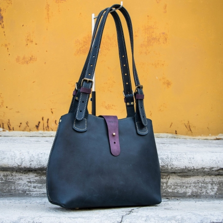 Beautiful bag made by Ladybuq perfect office bag in Navy Blue colour with Plum accents