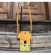 Skórzany ręcznie wykonany pokrowiec na telefon od Ladybuq Art, kolor Pomarańczowy