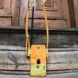 Leather handmade phone sleever made by Ladybuq Art, Orange colour