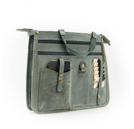 Leather organizer with big pocket in the colour of your bag