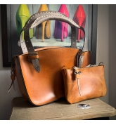 Kuferek bag with clutch, leather set in Camel color with Grey handles