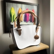 White Kuferek bag M size with Light Brown handles