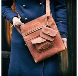 Oryginalna skórzana torba od Ladybuq w kolorze Rudym z długim paskiem na ramię i portfelikiem na karty