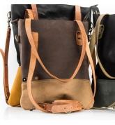 Worek skórzany ZOE w kolorach Jasny Brąz i Ciemny Brąz, idealna torba na co dzień lub do biura na laptopa