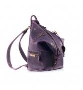 Skórzany plecak i torba na ramię 2 w 1 w kolorze Śliwkowym wykonana ręcznie przez Ladybuq Art