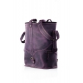 Leather backpack and shoulder purse 2 in 1 in Plum color made by hand by Ladybuq Art