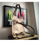 Handmade leather bag Small Ladybuq in Dark Beige colour with longer crossbody/backpack strap