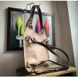 Ręcznie robiona skórzana torebka Mała Ladybuq w kolorze Ciemnego Beżu z dłuższym paskiem na ukos/na plecak