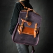 Leather handbag with shoulder strap and backpack function made by hand in Plum and Ginger colors by Ladybuq