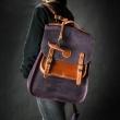 sac à dos spacieux avec fonction d'épaule et de sac à main en cuir véritable de couleur prune et gingembre