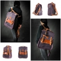 roomy backpack with shoulder and handbag function made out of genuine leather in plum and ginger color