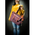 Original leather bag in Claret color with colorful accents, purse handmade by Ladybuq