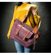 Oryginalna skórzana torba w kolorze Buraczkowym z kolorowymi akcentami, ręcznie wykonana torba od Ladybuq
