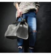stylish handbag in grey color with black accents, medical bag made by Ladybuq