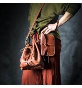 maja bag in cognac color with additional clutch, shoulder strap, detachable lining and handbag strap