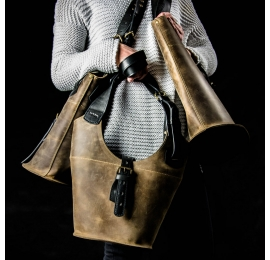 Everyday purse Ladybuq in Brown and Black, handmade leather woman tote made by Ladybuq Art