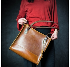 Squer natural leather unique handmade bag in camel color made by Ladybuq Art
