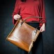 Squer handmade bag in camel color laptop bag