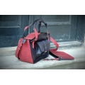 Handmade leather tote bag vintage style raspberry and graphite