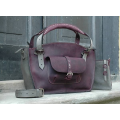 Handmade kuferek bag with a clutch handy laptop bag every occasion bag ladybuq plum and grey