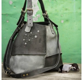 Handmade leather tote bag with detachable long strap Alicja in grey and black colour