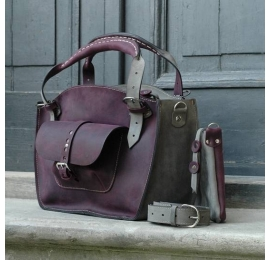 Unique tote bag with a pocket, a strap and a clutch plum and grey handmade out of natural full grain leather