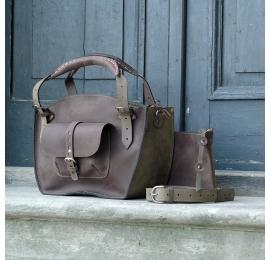 Kuferek ręcznie wykonany z kieszonka paskiem i kopertówką brąz i khaki naturalna skóra