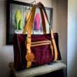 Lili purse made out of soft velour in Burgundy color with Camel colored accents