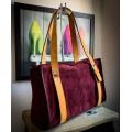 Lili purse made out of soft velour in Burgundy color with leather Camel colored accents