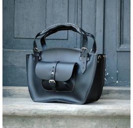 Kuferek czarna torba ręcznie robiona z naturalnej skóry z kieszonka  paskiem i kopertówką