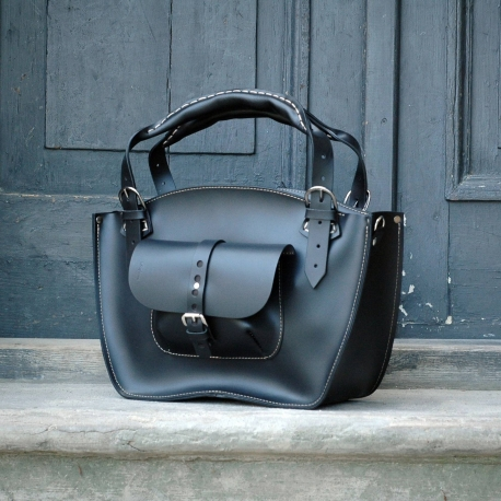 2133568ac7fc15 Natural leather handmade tote bag with a pocket, a strap and a clutch black
