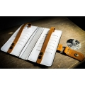 Leather White wallet with Camel accents, wallet with coin pocket and card slots