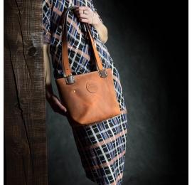 pomarańczowa damska torba z brązowymi dodatkami, ręcznie wykonana skórzana torebka w 5 rozmiarach od Ladybuq