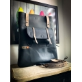 Zoe bag in Black color with magnet pocket and additional zippered pocket on the back