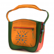 Leather purse Rita in bright colors with one comfortable hand strap and ornaments on the flap