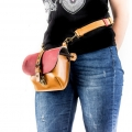 Leather woman bag with hip bag strap, Molly purse with zippered pocket