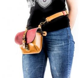 Skórzana damska torebka z paskiem do nerki, torebka Molly na ramię z kieszenią na zamek