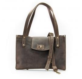 Skórzana damska torebka w stylu oversize Kasia, piękna Brązowa torebka od Ladybuq Art