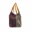 Leather Small Ladybuq purse Claret and Grey color, handmade leather bag with crossbody strap
