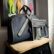 Woman leather purse with organizer Pepa XL size in Navy Blue and Grey colors made by Ladybuq Art